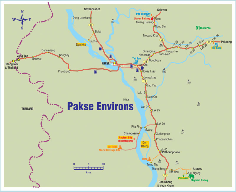 Pakse Laos  city photos : Pakse Laos Map